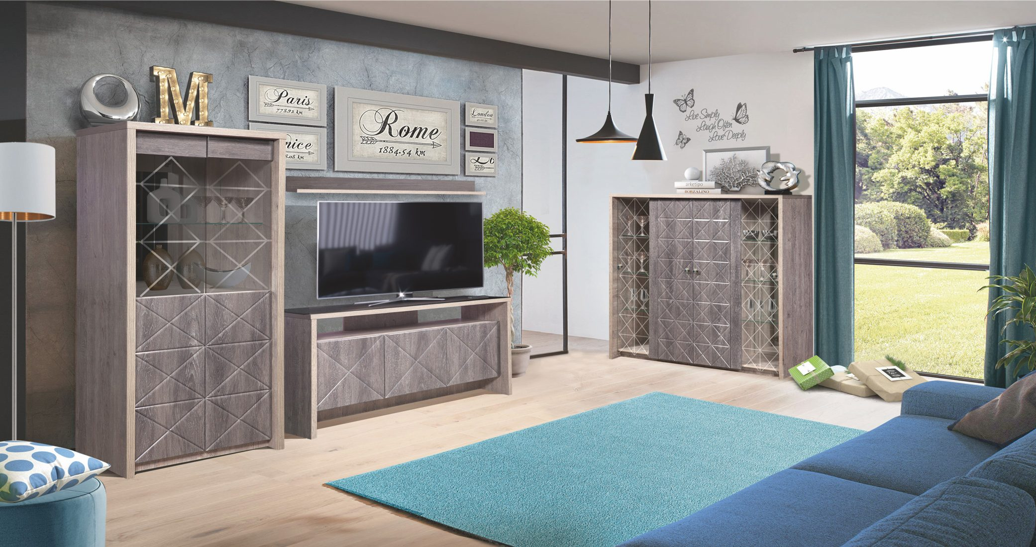 Набор мебели для жилой комнаты «Монако»  (Сосна натуральная / Дуб шато)