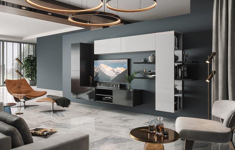 Набор мебели для жилой комнаты «Альда» (Черный глянец / Белый глянец)