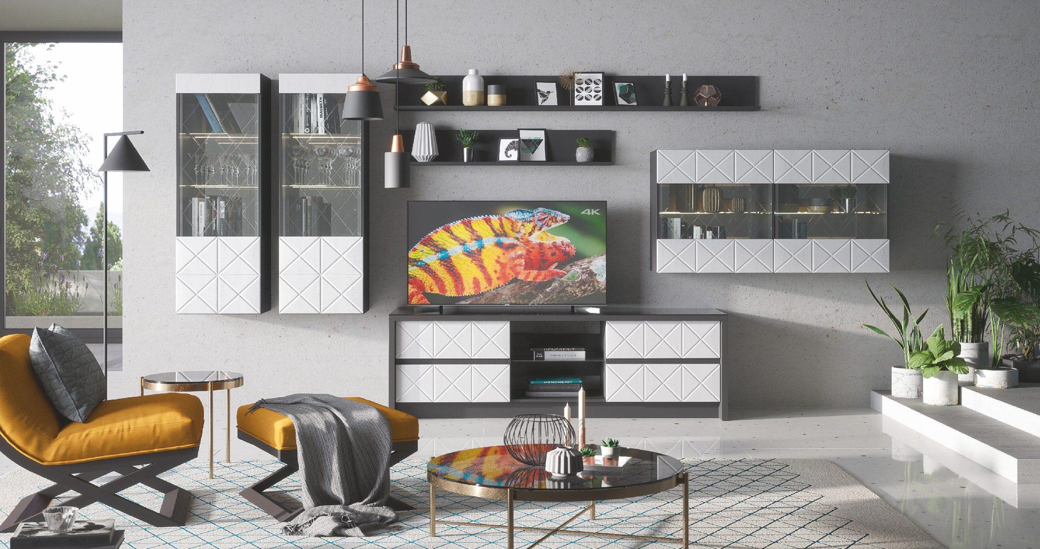Набор мебели для жилой комнаты «Монако» (Графит / Дуб полярный)