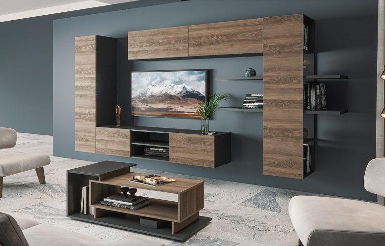 Набор мебели для жилой комнаты «Альда» (Черный-глянец / Ясень-орландо)