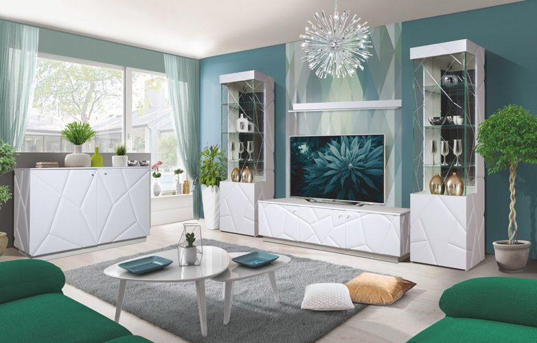 Набор мебели для жилой комнаты «Кензо» КМК 0674 (Белый / Белый глянец)